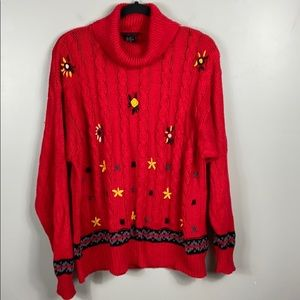 Vintage Floral Embroidered Sweater size L